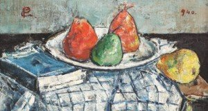 'Static nature with pears and book' by Gheorghe Petrascu