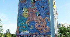 Mural painting on block of flats in Zaspa, Gdansk
