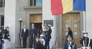 Secretary of Defense Jim Mattis hosts an enhanced honor cordon for Romanian Minister of Defense Adrian Tutuianu Sept. 19, 2017, at the Pentagon in Washington, D.C. (DOD photo by Air Force Tech. Sgt. Brigitte N. Brantley)